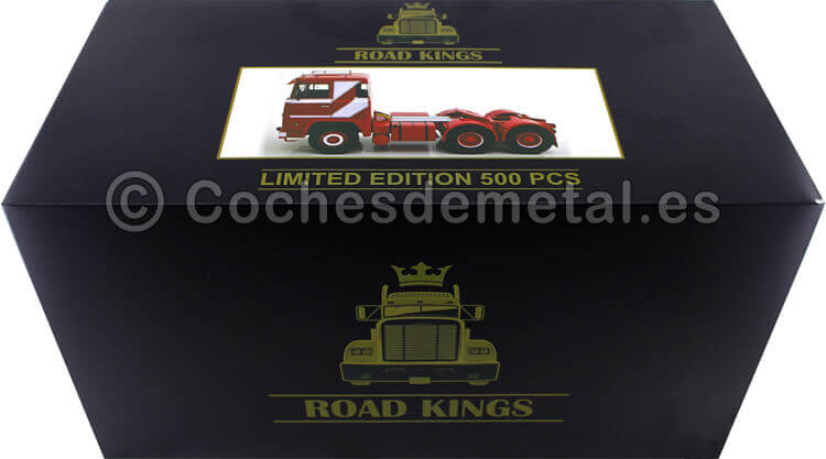 1976 Camion Scania LBT 141 Tres Ejes Rojo/Blanco 1:18 Road Kings 180014