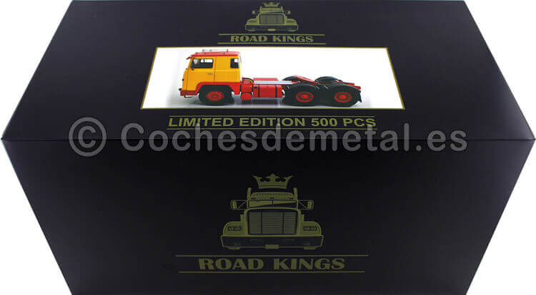 1976 Camion Scania LBT 141 Tres Ejes Amarillo/Rojo 1:18 Road Kings 180015