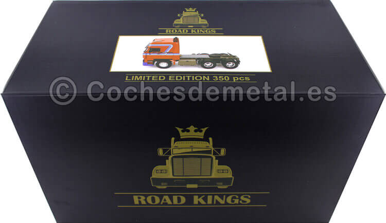 1982 Camion DAF 3600 SpaceCab Naranja/Azul 1:18 Road Kings 180094