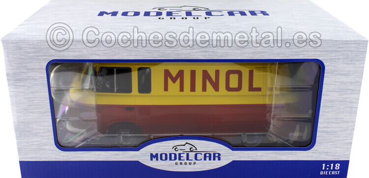 1970 Barkas B 1000 Box Wagon Minol Amarillo/Rojo 1:18 MC Group 18210