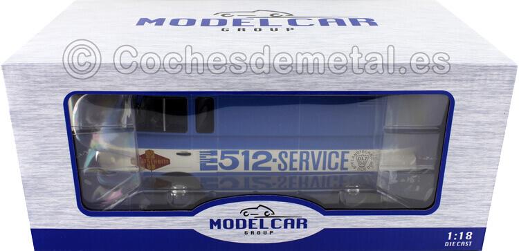 1970 Barkas B 1000 Box Wagon Fortschritt-Service Blanco/Azul 1:18 MC Group 18211