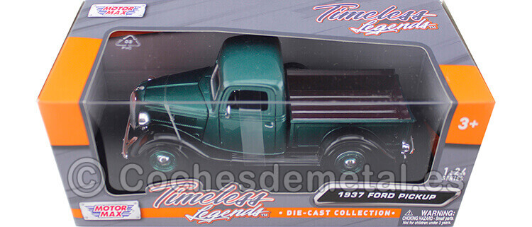 1937 Ford Pickup Metallic Green 1:24 Motor Max 73233
