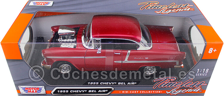 1955 Chevrolet Bel Air Hard Top Custom Burdeos Bicapa 1:18 Motor Max 79002