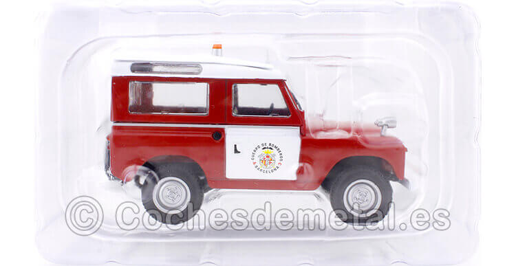 1960 Land Rover Santana II Brigada Bomberos Barcelona Rojo/Blanco 1:43 Editorial Salvat SP08