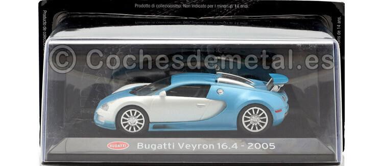 2005 Bugatti Veyron 16.4 SuperCars Blanco-Azul 1:43 Editorial Salvat SC10