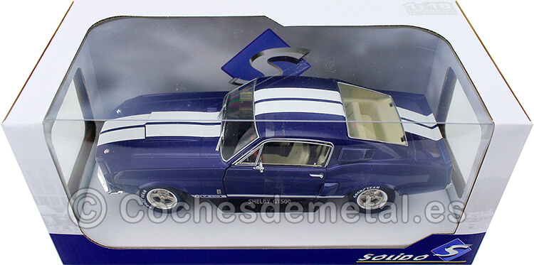1967 Ford Shelby Mustang GT500 Blue/White 1:18 Solido S1802903
