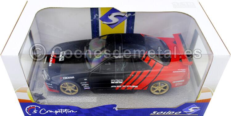 1999 Nissan Skyline GT-R (R34) Advan Drift Livery Negro/Rojo 1:18 Solido S1804302