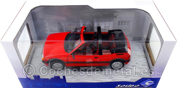 1989 Peugeot 205 CTI MK1 Convertible Rojo Vallelunga 1:18 Solido S1806201