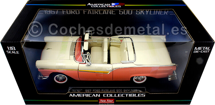 1957 Ford Fairlane 500 Skyliner Convertible Coral/White 1:18 Sun Star 1344