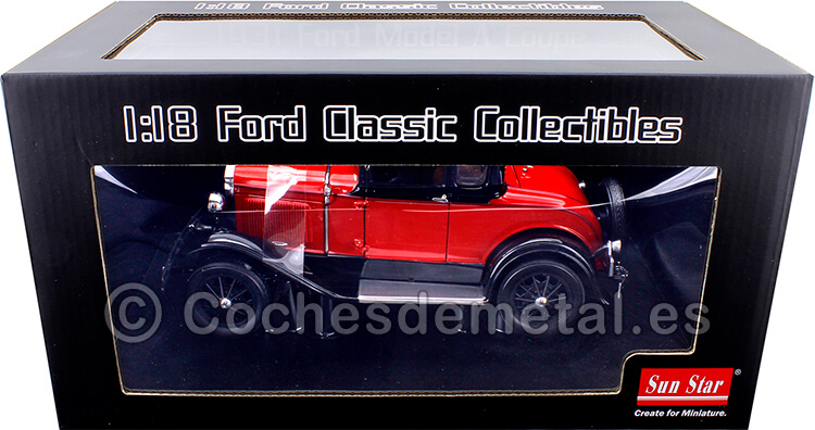 1931 Ford Model A Coupe Aurora Red 118 Sun Star 6137