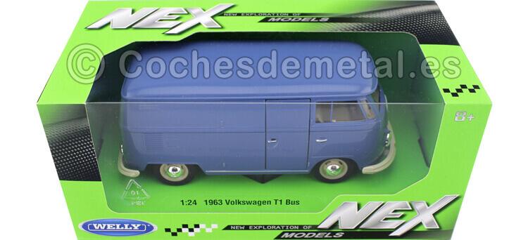 1963 Volkswagen T1 Panel Van Azul 1:24 Welly 22095