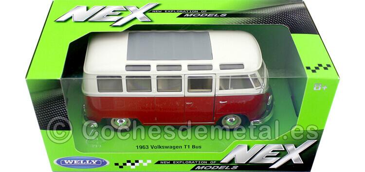 1963 Volkswagen VW T1 Samba Bus RedBeige 1:24 Welly 22095