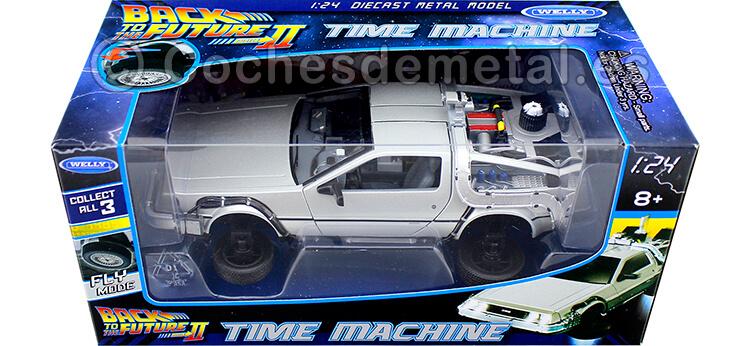 1989 DeLorean DMC 12 Regreso al Futuro II + Ruedas Versión Vuelo 1:24 Welly 22441
