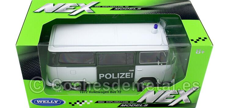1972 Volkswagen VW T2 Bus Policia Berlinesa Verde/Blanco 1:24 Welly 22472
