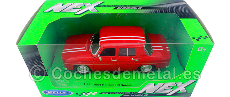 1967 Renault 8 R8 Gordini 1100 Rojo/Blanco 1:24 Welly 24015