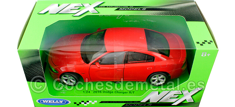 2016 Dodge Charger R/T Rojo 1:24 Welly 24079