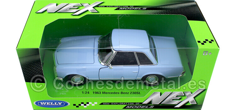 1963 Mercedes-Benz 230 SL (W113) Hardtop Azul 1:24 Welly 24093
