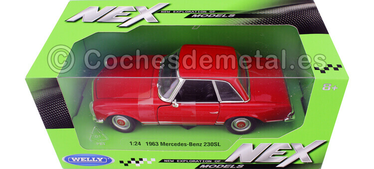 1963 Mercedes-Benz 230 SL (W113) Hardtop Rojo 1:24 Welly 24093