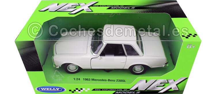 1963 Mercedes-Benz 230 SL (W113) Hardtop Blanco 1:24 Welly 24093