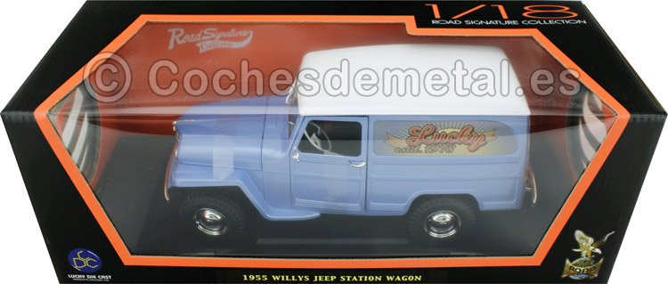 1955 Jeep Willys Station Wagon Gris Claro 1:18 Road Signature 92858